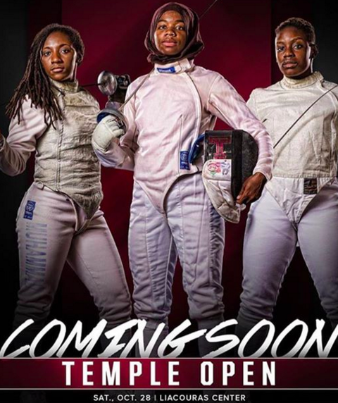 Temple University Division 1 Women's Fencers from left: Auset Muhammad (Junior), Safa Ibrahim (Senior) and Blessing Olaode (Junior)