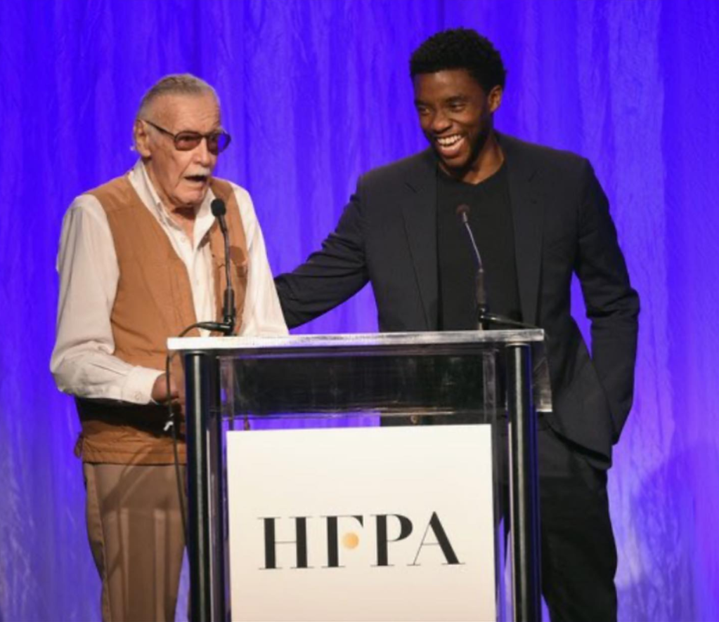 Marvel Comic Writer Stan Lee and Actor Chadwick Boseman