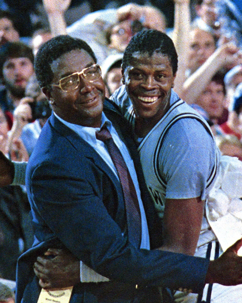 Coach John Thompson with NBA legend Patrick Ewing.  In 1984, Ewing helped lead the Georgetown Hoyas to their first national championship. Photo courtesy of Georgetown University Instagram.